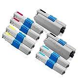 Juego de 2 cartuchos de tóner para Oki C 310, C310 DN, C 330, C330DN, C 331, C331DN, C 510, C510DN, C 511, C511DN, C 530, C530DN, C 531, C531, C531111DN DN MC 3511. DN MC352DN MC 361DN MC362DN MC 561DN MC 562DN Oki (43865803 43865706 43865705 43865704) compatible (BK/C/Y/M)