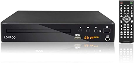 LONPOO Compact HD DVD Player All Region Free Support HDMI Output, AV, Multi Zone Free Play, PAL/NTSC Format, USB2.0 Port Input, with Full-Function Remote Controller