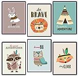 Poster für Kinderzimmer & Babyzimmer - 6 Tribal-Tier