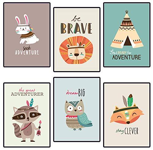 Poster für Kinderzimmer & Babyzimmer - 6 Tribal-Tier Poster-Set für Mädchen und Jungen
