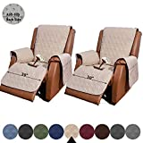 RBSC Home Recliner Chair Cover with Pockets 2 Pack Anti Slip Waterproof 30 Inch Large Soft Lazy Boy Chair Covers for Pets Dogs Cats Washable (2P 30' Sand)
