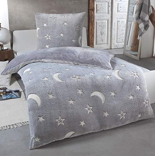 Kuscheli® Teddy Plüsch Bettwäsche 135x200, Sterne Kinder-Bettwäsche die im Dunkeln leuchtet Winter Fleece Set Cashmere-Touch Bettbezug, Farbe:Grau