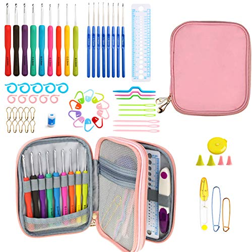 New Set of 47 Ergonomic Crochet Hooks Set w Rubbery Handles Hook 0.6-6MM, Comfort Grip for Arthritic Hands (Pink Paper)