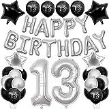 Decoraciones de cumpleaños 13 para niños y niñas, globo con globos de lámina de estrella, helio número 13 XXL, globo de látex negro impreso 13, para decoración de fiestas de cumpleaños