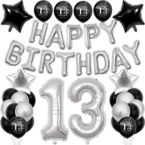 13. Geburtstag Dekoration Set, Männer Deko Geburtstag, Schwarz Silber 13 Geburtstagsdeko, XXL Riesenzahl 100cm, Druck Zahlen Luftballons 13. Ballons, Happy Birthday Banner für Mädchen und Jungen