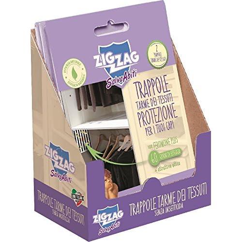 Zig Zag, Il Salva Abiti, Trappola adesiva preincollata con feromoni per attrarre le tarme dei tessuti, senza insetticida, confezione da 2 trappole