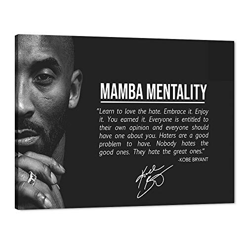 WeiYang NBA Superstar Canvas Wall Art Basketball Player Kobe Bryant Mamba Mentality Pictures Prints on Canvas Modern Posters Artwork Home Decorations Memorabilia Fan Gifts - 30' Hx40 W