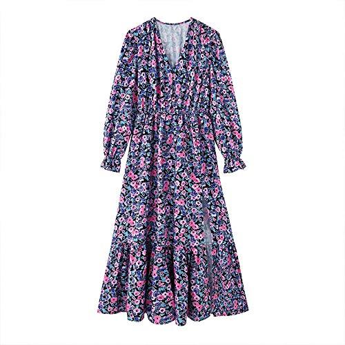 Miwaimao Otoño V-néctar flor vestido mujer casual slim manga larga tres vestido mujer falda Marrón, L