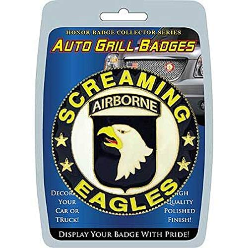 """Grill United States Army 101ST, Screaming Eagles Airborne - Polished Finish, Weatherproof Car Badge - 3"""""""