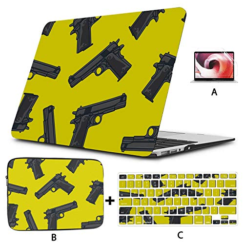 Cover Macbook Air Colorful Cartoon Art Pistol Painting Laptop Hard Case Hard Shell Mac Air 11'/13' Pro 13'/15'/16' With Notebook Sleeve Bag For Macbook 2008-2020 Version
