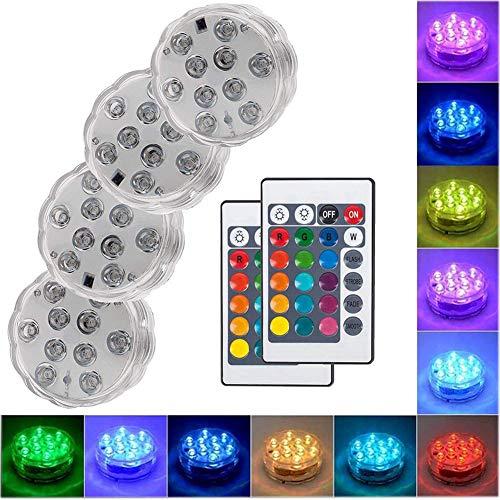 Ototon LED-Lampe für Schwimmbad, Beleuchtung IP68, wasserdicht, Unterwasser-Lampen, mehrfarbig, mit Fernbedienung, Dekoration für Badewanne für Aquarium, Badewanne Pool Teich, 1pcs