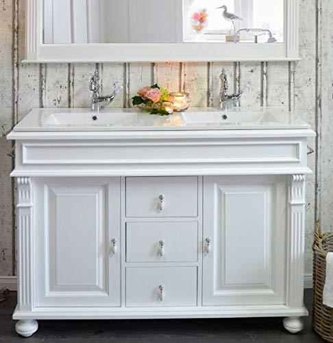 Doppelwaschtisch mit Keramik-Waschbecken | Waschbeckenunterschrank Landhaus Badmöbel Vintage Nostalgie