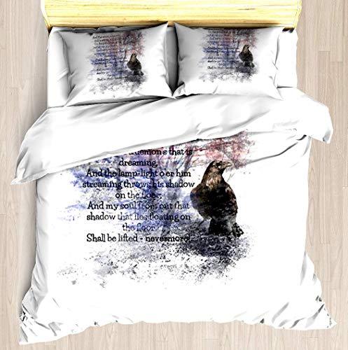 WINCAN Edgar Allan Poe Poem The Raven Queen/Full Size Brushed Microfiber 1 Duvet Cover 2 Pillow Shams Zipper Closure