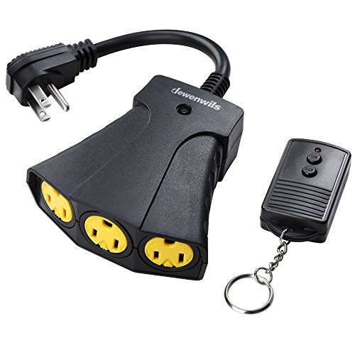 DEWENWILS Outdoor Remote Control Outlet with Key Ring, Wireless Remote Outlet Power Switch, Weatherproof 15 AMP Heavy Duty Electrical Plug, 3 Grounded Outlets, 100ft Long Range, UL Listed