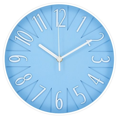 Postershop ZH09884B Reloj de Pared, Azul Claro, 25 x 25 x 4 cm