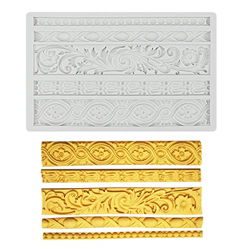 Palksky DIY Baroque Scroll Relief Cake Border Silicone Mold/Vintage Curlicues Fondant Molds Flower Frame Edible Lace Mould Mat for Birthday Candy Chocolate Sugarcraft Gum Paste Decorating Tool