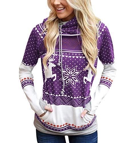Sudadera Navidad con Capucha Mujer Sudaderas Navideñas Estampadas Jersey Navideño Sueter Reno Sweaters Pullover Hoodies Largas Chica Oversize Anchas Deporte Larga Invierno Personalizadas Morado L