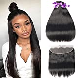 Beaudiva Hair Straight Hair Bundles with Frontal (16 18 20+16inch) 3 Bundles with Ear to Ear 13×4 Lace Frontal Unprocessed 8A Brazilian Straight Virgin Human Hair Extensions Natural Color