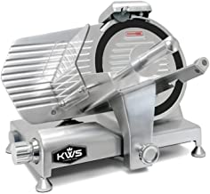 KWS Metal Collection Commercial 320W 10-Inch Meat Slicer MS-10DT Anodized Aluminum Base with Teflon Blade + Blade Removal Tool, Frozen Meat/Cheese/Food Slicer Low Noises Commercial and Home Use