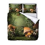 QNZOR Juego de Ropa de Cama de 3 Piezas para niños 260x230cm Funda nórdica con patrón Impreso en 3D Seta del Bosque para decoración de dormitorios