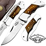 Best.Buy.Damascus1 Rose Wood Custom Handmade 5.5' Double Bloster Stainless Steel Back Lock Folding Pocket Knife Prime Quality Come with Leather Sheath