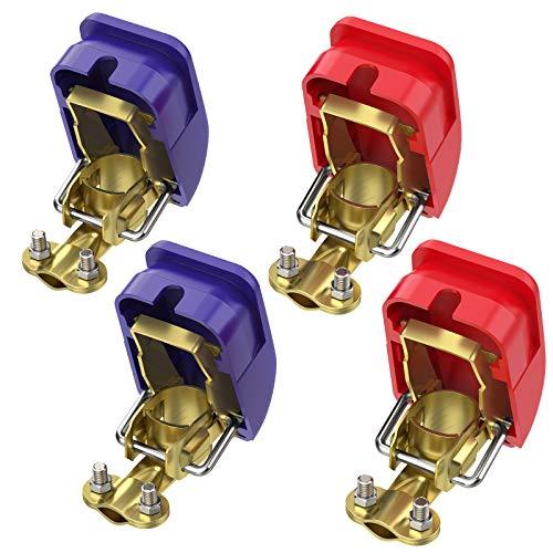 AUTOUTLET 4X KFZ Auto Batterie Schnellklemmen Polklemmen Batterieklemmen Batteriepolklemmen Set Boot PKW Klemmen (2 Paar)