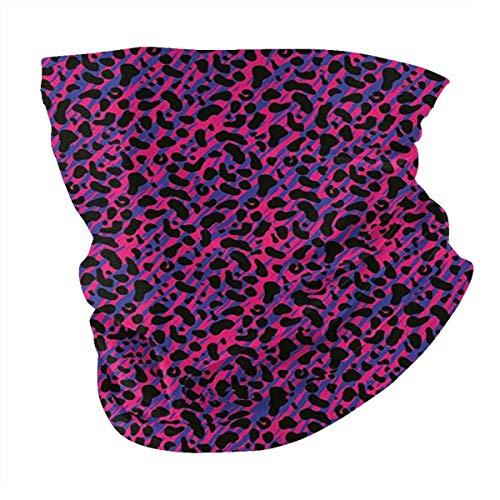 Q&SZ Sweatshirt Outdoor Headband Jungle 80s Style Vintage Leopard Skin Radiant Colors African Tiger Safari Royal Blue Hot Pink Black Scarf Neck Gaiter Face Bandana Scarf Head Scarf