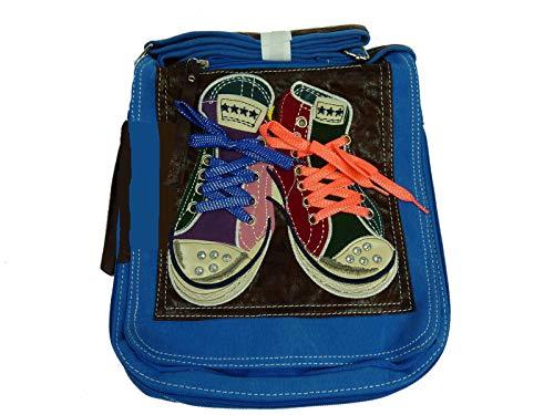 Lookid 5006 Umhängetasche mit Chucks, crossbag in 2 Größen 25x28x8 (blau (Sky Blue klein))