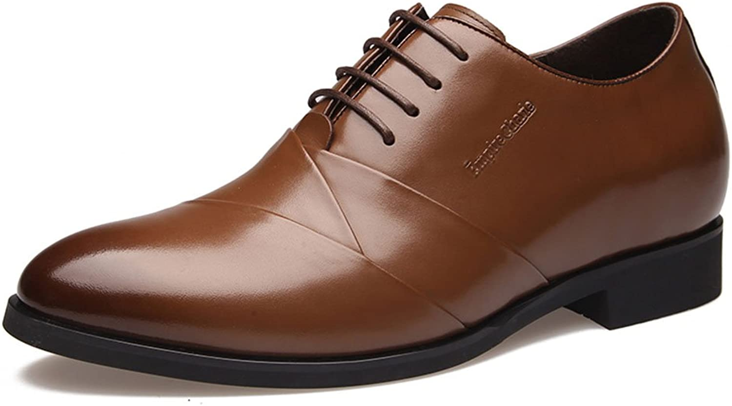 SN Men's Invisible Elevator shoes Height Increasing 2.36 Inch Business Formal Genuine Leather Oxfords shoes
