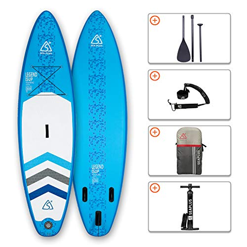 SEAPLUS Tabla de Paddle Surf Hinchable Tabla Stand Up Paddle Board Rígida Doble...