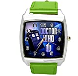 TAPORT DRH WHO Cuarzo Cuadrado SCI FI Reloj E2 Verde Banda de Cuero Real + Batería de repuesto + Bolsa de regalo gratis