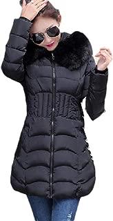 neveraway Women's Fur Collar Hooded Warm Winter Fitness Midi Thick Coat
