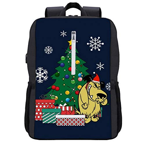Muttley Around The Christmas Tree Wacky Races Travel Backpack Laptop Backpack with USB Port Backpack Suitable for 15.6-inch Laptop Backpack