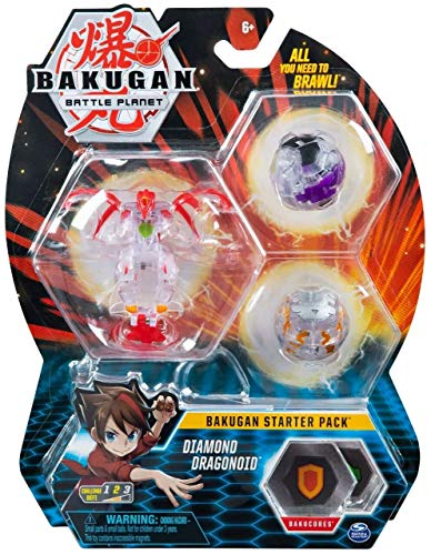 Bakugan Starter Pack 3-Pack, Diamond Dragonoid, Collectible Action Figures, for Ages 6 and up
