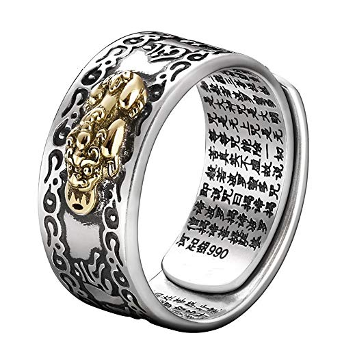 JAJAFOOK 990 Silver FENG Shui PIXIU MANI Amulet Lucky Wealth Buddhist Jewelry Adjustable Ring