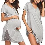 Pinspark Camisón de lactancia para mujer, de manga corta, para embarazadas, para hospital, con botones y encaje, tallas S-XXL gris claro L