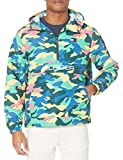 Tommy Hilfiger Men's Retro Lightweight Taslan Hooded Popover Water Resistant Windbreaker Jacket, Camo Tropical Print, XX-Large