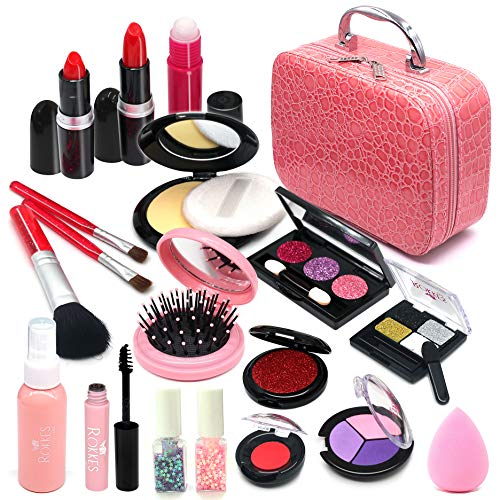 Senrokes Pretend Makeup Kids Cosmetic Toy Girls Play Makeup Kit for Kids with Cosmetic Bag Non Toxic Toy Beauty Set Birthday Gift for 3-10 Year Old Girls Fit Role Play Game, Princess Dress Up.