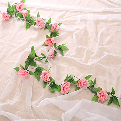 Pauwer 6PCS/48FT Artificial Silk Rose Flower Garland Fake Flowers Rose Ivy Vine Plants for Home Garden Wedding Party Decoration(6PCS, Dark Pink)