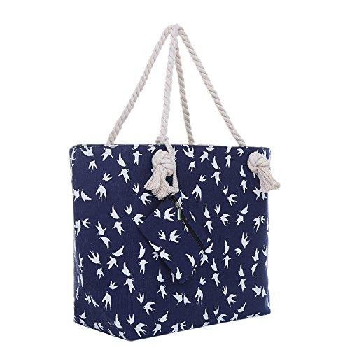 Große Strandtasche mit Reißverschluss 58 x 38 x 18 cm maritimes Design Möwe blau weiß Shopper Schultertasche Yacht Style