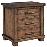 Knocbel Farmhouse 3-Drawer Nightstand, Reclaimed Pine Wood Bedside Sofa Side End Table with Antique Metal Handles, Fully Assembled, 24' L x 17' W x 25.6' H (Natural)