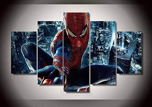 Superhéroe Película Personaje de Película Spiderm City Night View Imágenes Cuadros En Lienzo Póster De Impresión 5 Piezas De Arte De Pared para La Sala De Estar Dormitorio Decoraciones para El Hogar