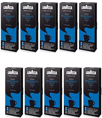 Lavazza Decaffeinato Ricco Espresso Dark Roast Capsules Compatible with Nespresso® Original* Machines (Pack of 100)