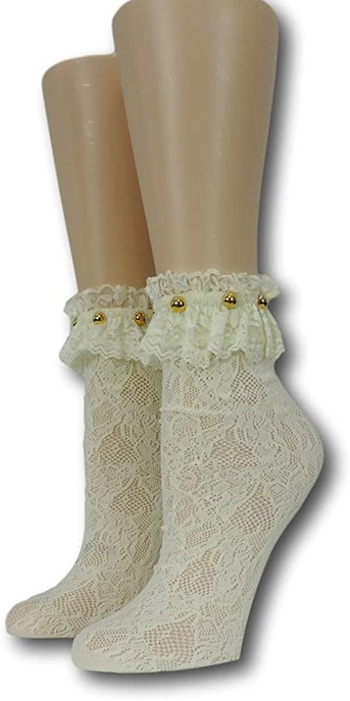 Yellow Floral Frilly Socks with beads100% Nylon Sheer Socks - Breathable and Lightweight Summer Ankle Socks for Women