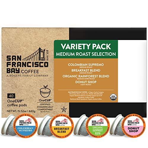 SF Bay Coffee OneCUP Medium Roast Variety Pack 40 Ct Compostable...