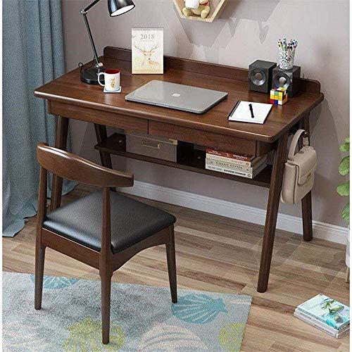 Living Equipment Escritorio de estudio Vintage Estudio simple Escritorio de madera para computadora Escritorio para oficina en casa con silla Mesa de PC para oficina en casa (Color: Blanco Tamaño: