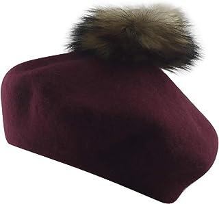 MINAKOLIFE Womens French Artist Wool Beret Fur Pompom Hats