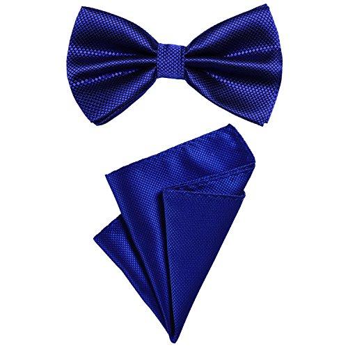 DonDon Set para hombres compuesto por un pañuelo y una pajarita a juego en color, unida y ajustable en tamaño azul