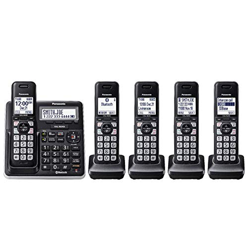 Panasonic 5 Handsets Link2Cell DECT 6.0 Talking Caller ID Voice Assist Expandable Cordless Phone with Digital Answering System KX-TGF775S (Renewed)