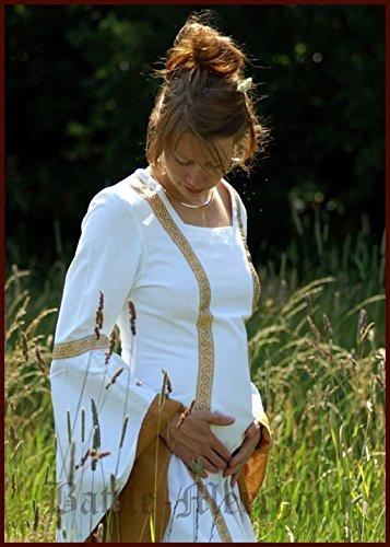 Battle-Merchant LARP Mittelalterliches Hochzeitskleid Sophia Farbe weiß/okker S-XL Kostüm Mittelalter Damen Kleid (XL)